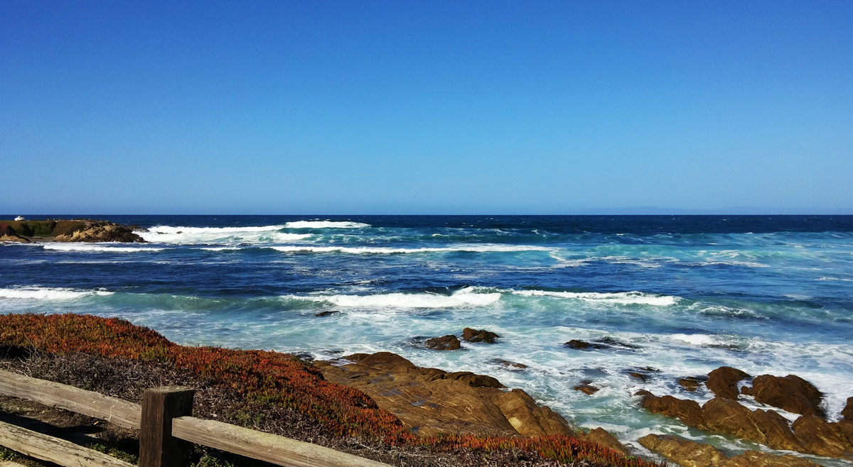 Churning waves at the first scenic overlook on 17 Mile Drive.