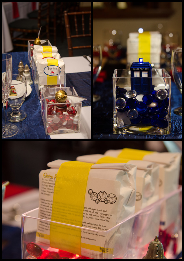 Three images of our centerpieces, featuring flour, the Golden Snitch, and the TARDIS